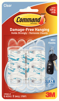 3M Command Mini Clear Hooks with Clear Strips 17006CLR-0