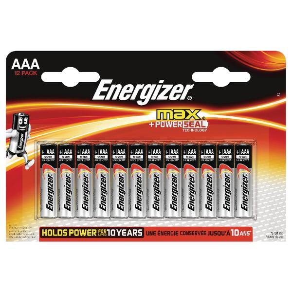Energizer MAX E92 AAA Batteries Pk 12 E300103700