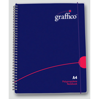 Graffico Twin Wire Polypropylene A4 Notebook 140 Pages 500-0504-0