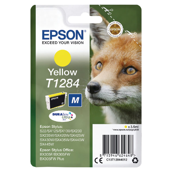 Epson T1284 Yellow Ink Cartridge C13T12844012-0