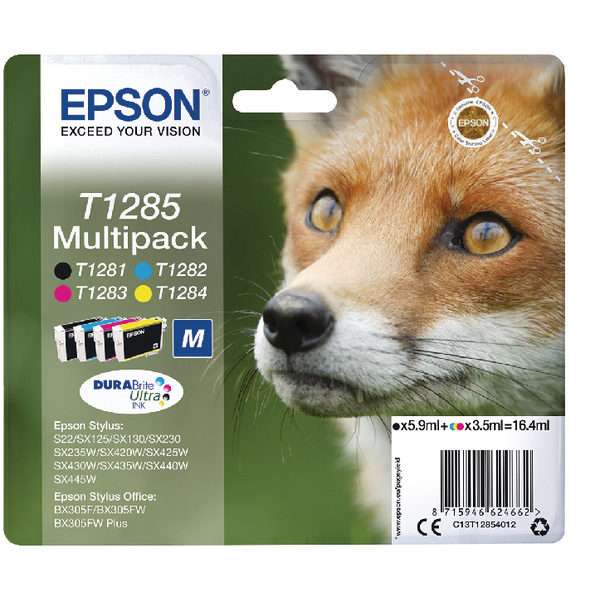 Epson T1285 Black Cyan Magenta Yellow Ink Cartridge Value Pk4 C13T12854012-0