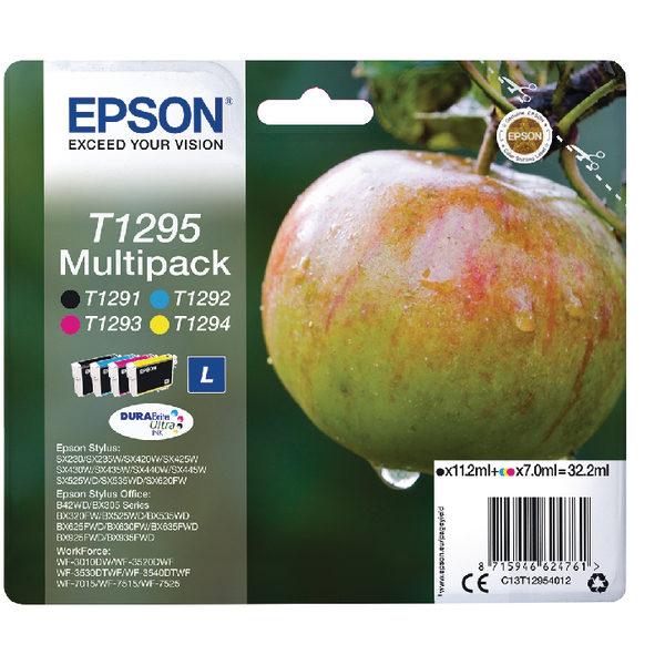 Epson T1295 Black Cyan Magenta Yellow Ink Cartridge Pk4 C13T12954012-0