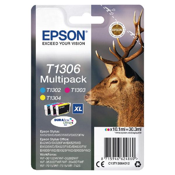 Epson T1306 Cyan Magenta Yellow XHY Ink Cartridge Pk3 C13T13064012-0