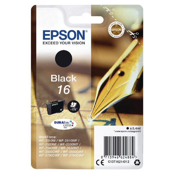 Epson 16 Black Ink Cartridge C13T16214012-0