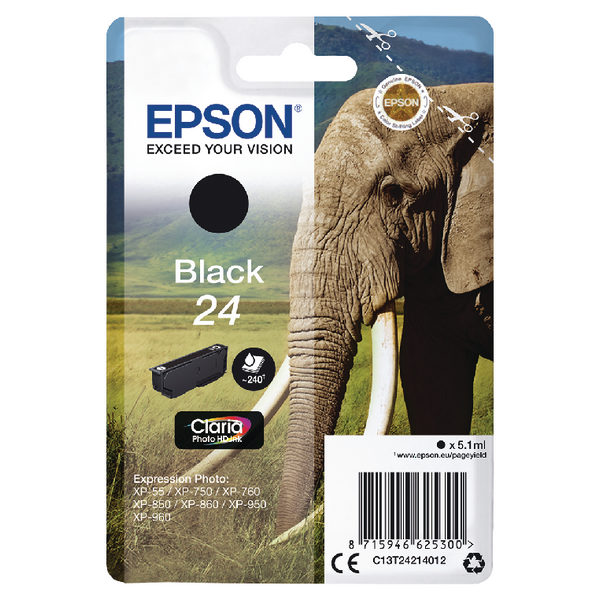 Epson 24 Black Ink Cartridge C13T24214012-0
