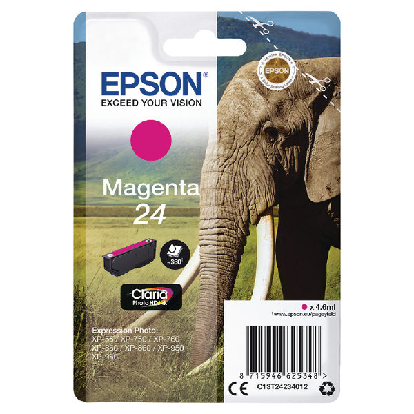 Epson 24 Magenta Ink Cartridge C13T24234012-0