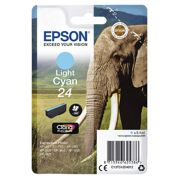 Epson 24 Light Cyan Ink Cartridge C13T24254012-0