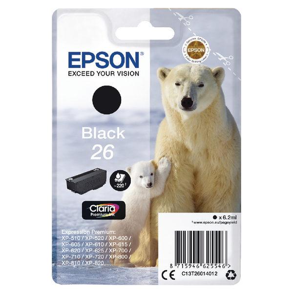 Epson 26 Black Ink Cartridge C13T26014012-0