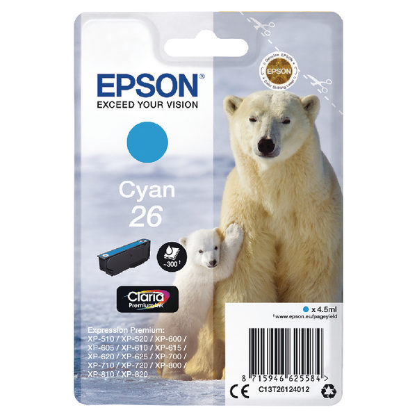 Epson 26 Cyan Ink Cartridge C13T26124012-0
