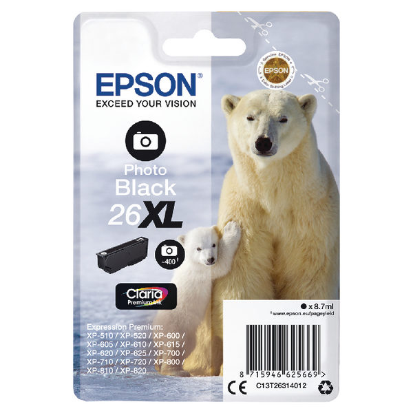 Epson 26XL Photo Black Ink Cartridge C13T26314012-0
