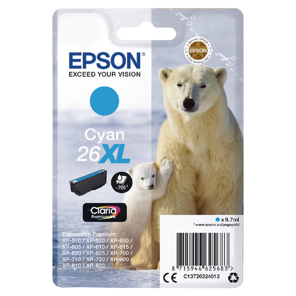 Epson 26XL Cyan Ink Cartridge C13T26324012-0