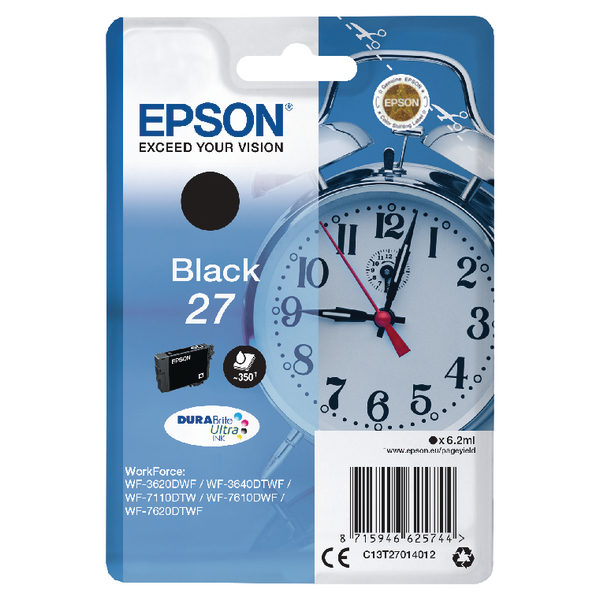 Epson 27 Black Ink Cartridge C13T27014012-0