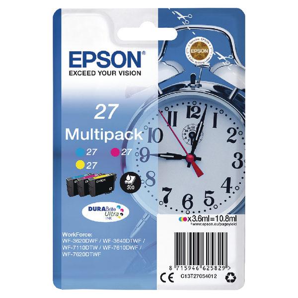 Epson 27 Cyan Magenta Yellow Ink Cartridge Pk3 C13T27054012-0