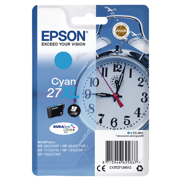 Epson 27XL Cyan Ink Cartridge C13T27124012-0