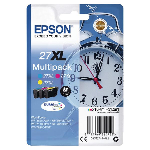 Epson 27XL Cyan Magenta Yellow Ink Cartridge Pk3 C13T27154012-0