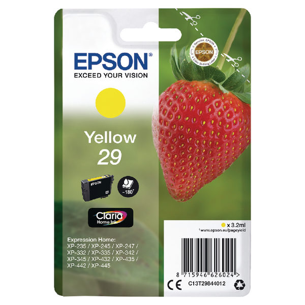 Epson 29 Yellow Ink Cartridge C13T29844012-0