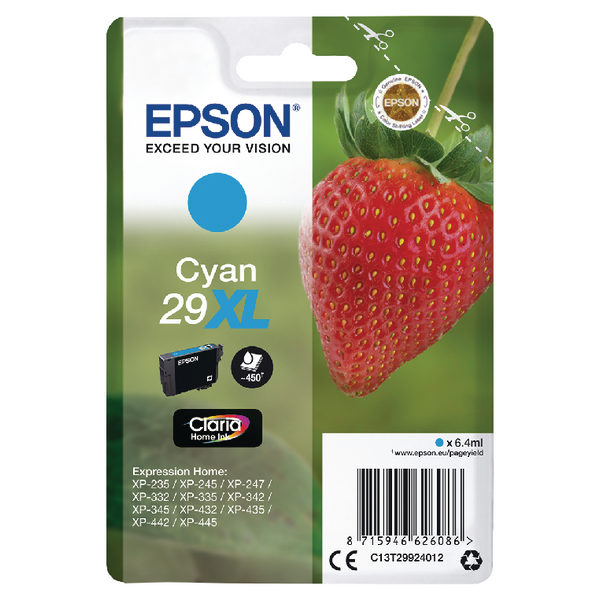 Epson 29XL Cyan Ink Cartridge C13T29924012-0