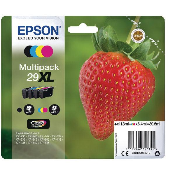Epson 29XL Black Cyan Magenta Yellow Ink Cartridge Value Pk4 C13T29964012-0
