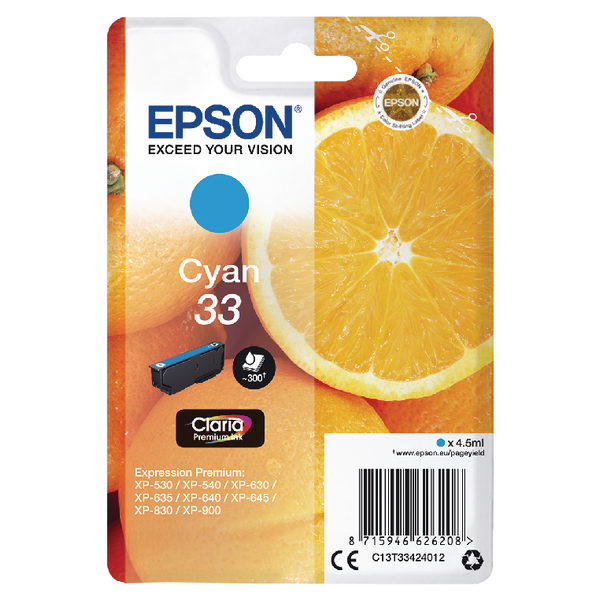 Epson 33 Cyan Ink Cartridge C13T33424012-0