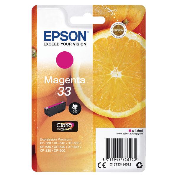 Epson 33 Magenta Ink Cartridge C13T33434012-0