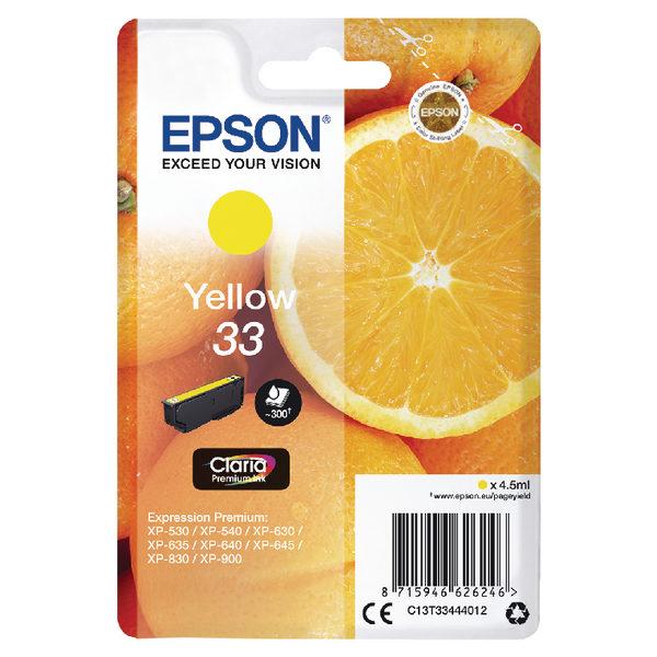 Epson 33 Yellow Ink Cartridge C13T33514012-0