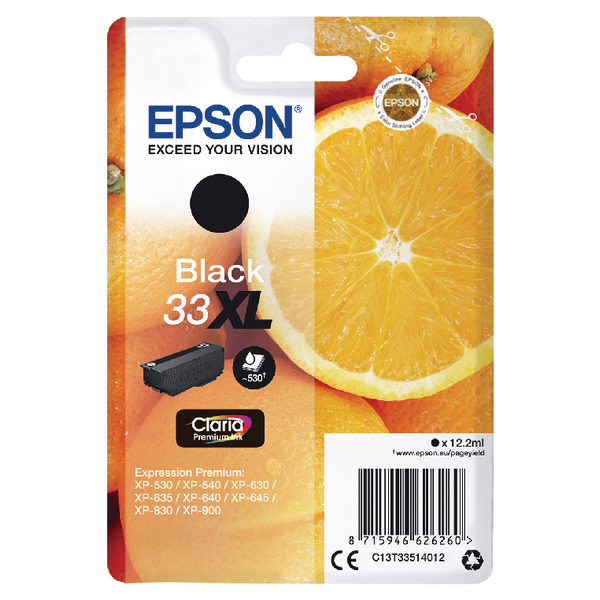Epson 33XL Black Ink Cartridge C13T33514012-0
