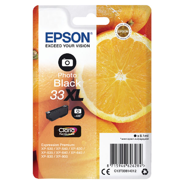 Epson 33XL Photo Black Ink Cartridge C13T33614012 -0