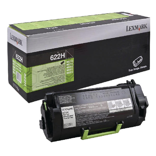 Lexmark 622HE High Yield Black Return Program Laser Toner Cartridge 62D2H0E-0