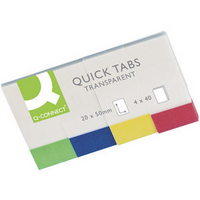 Q-Connect Quick Tabs 20x50mm Transparent (4 Pads of 40) KF01225