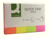 Q-Connect Quick Tabs 20x50mm Neon (4 Pads of 40) KF01226